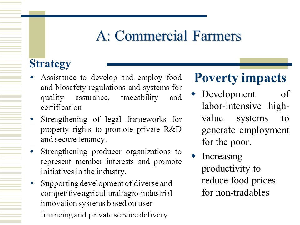 A: Commercial Farmers Poverty impacts Strategy