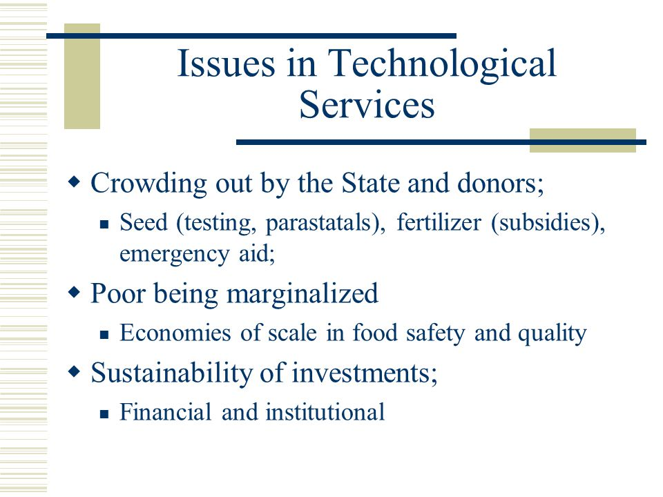 Issues in Technological Services