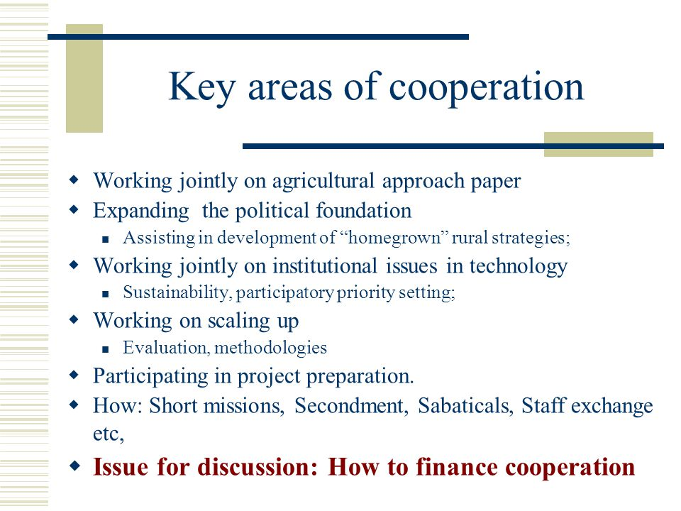 Key areas of cooperation