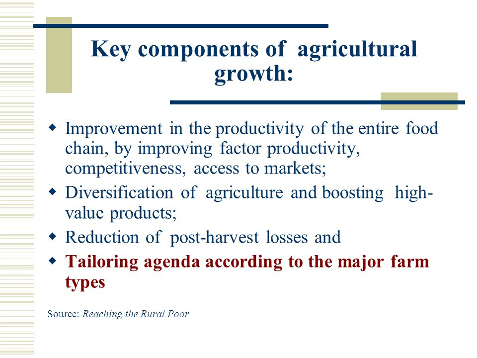 Key components of agricultural growth: