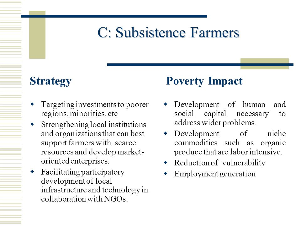 C: Subsistence Farmers