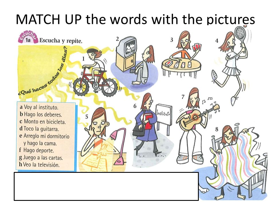 MATCH UP the words with the pictures