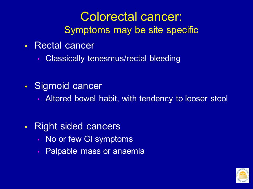 Colorectal cancer: Symptoms may be site specific