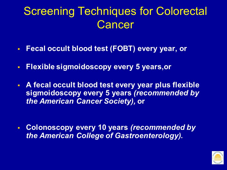 Screening Techniques for Colorectal Cancer