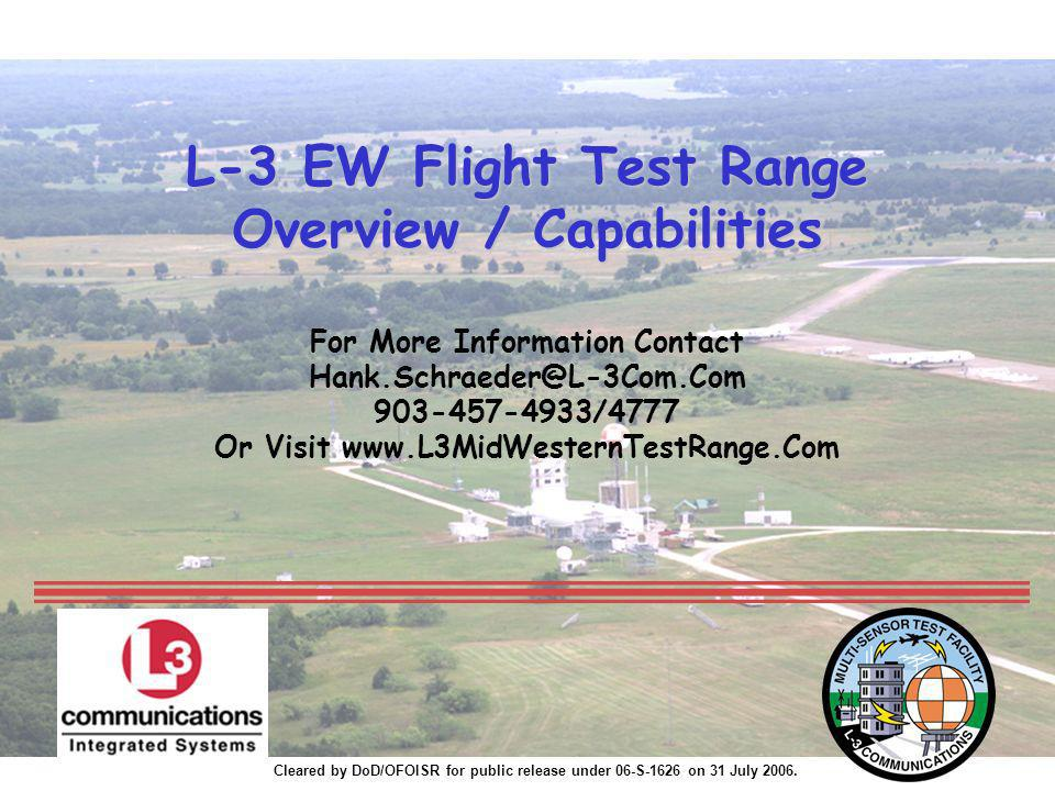 L-3 EW Flight Test Range Overview / Capabilities For More Information Contact Hank.Schraeder@L-3Com.Com 903-457-4933/4777 Or Visit www.L3MidWesternTestRange.Com