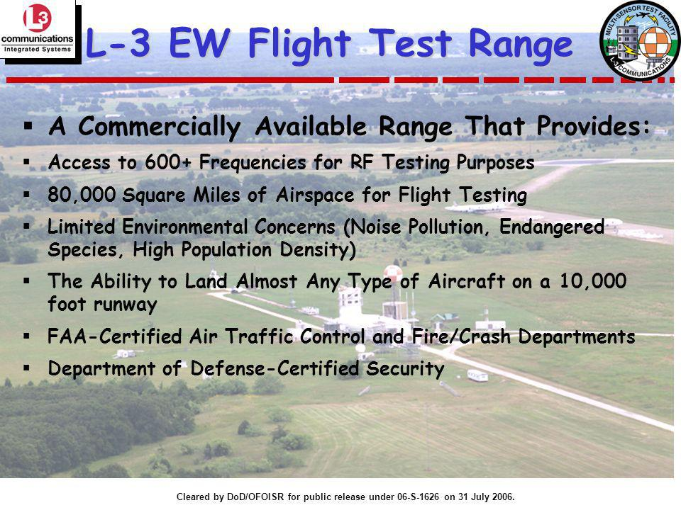 L-3 EW Flight Test Range A Commercially Available Range That Provides: