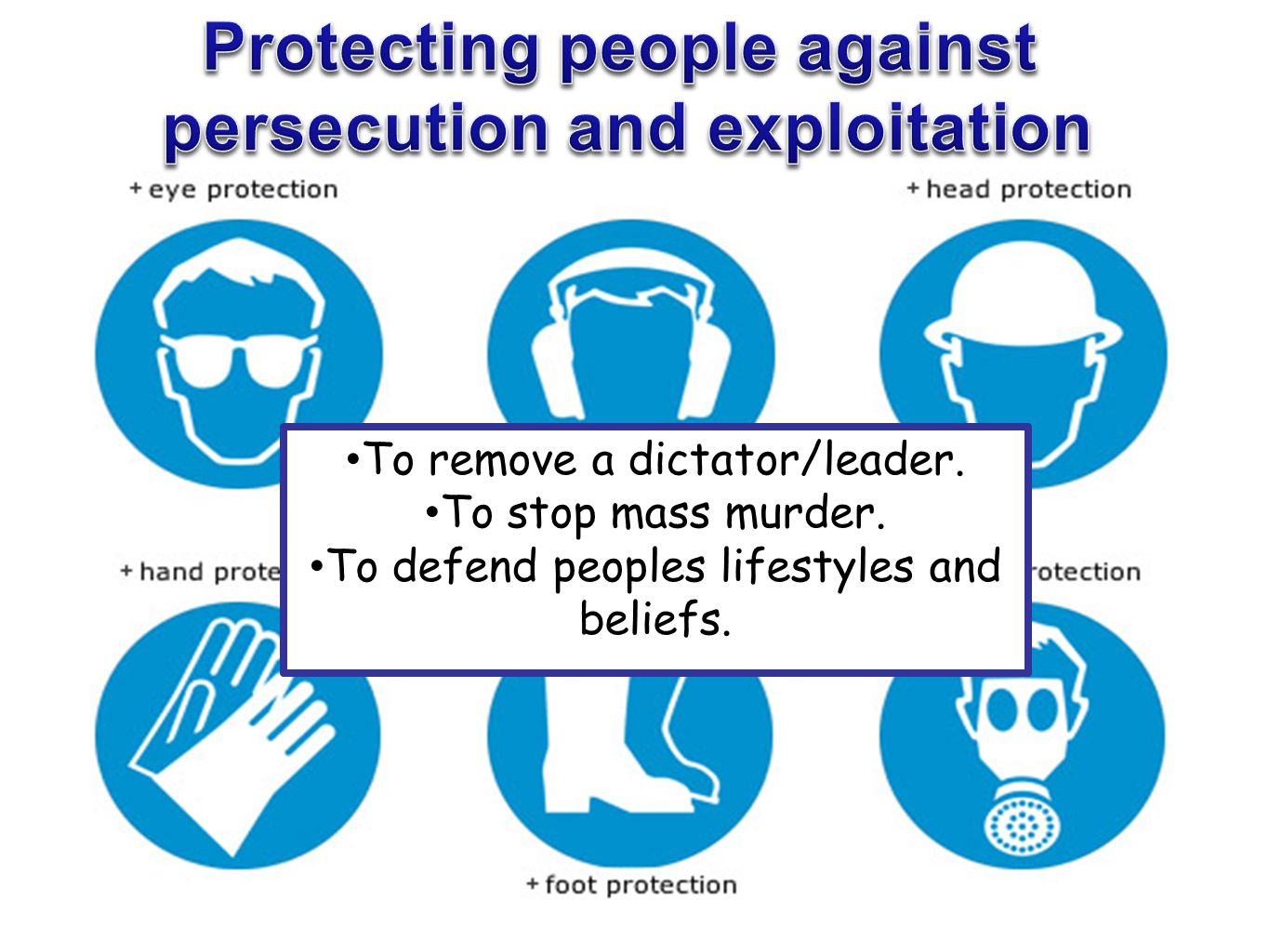 Protecting people against persecution and exploitation