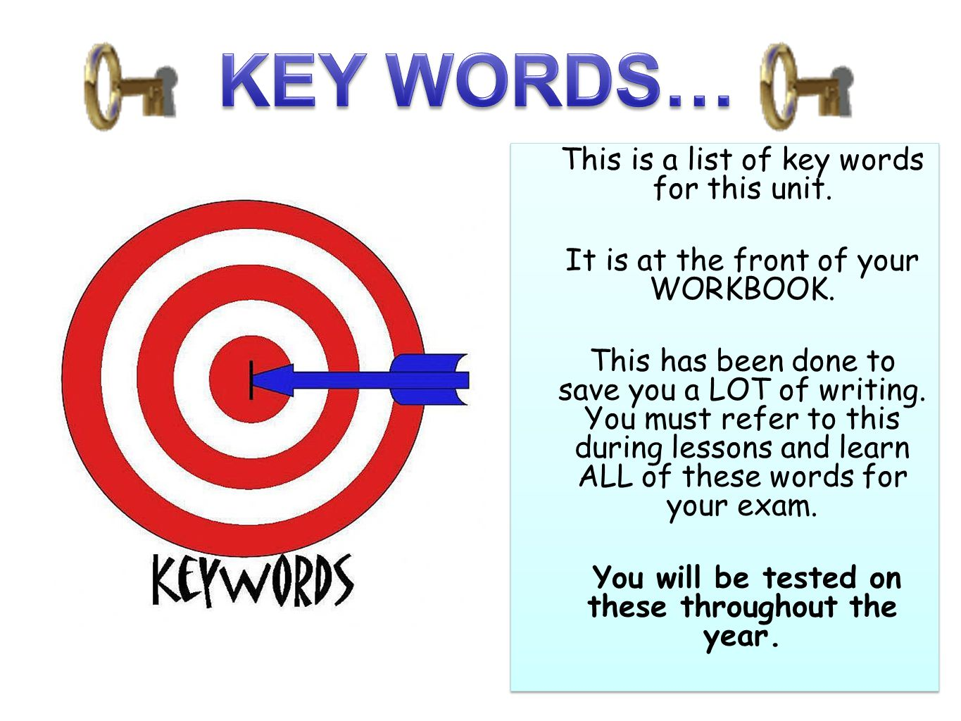 KEY WORDS… This is a list of key words for this unit.