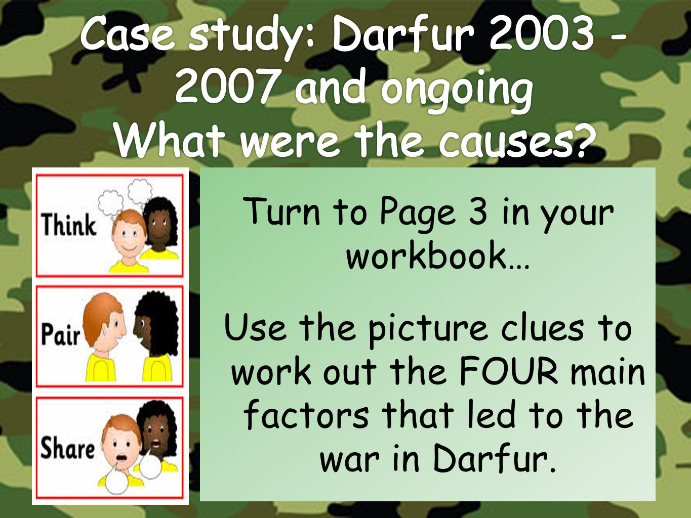 Case study: Darfur 2003 - 2007 and ongoing What were the causes