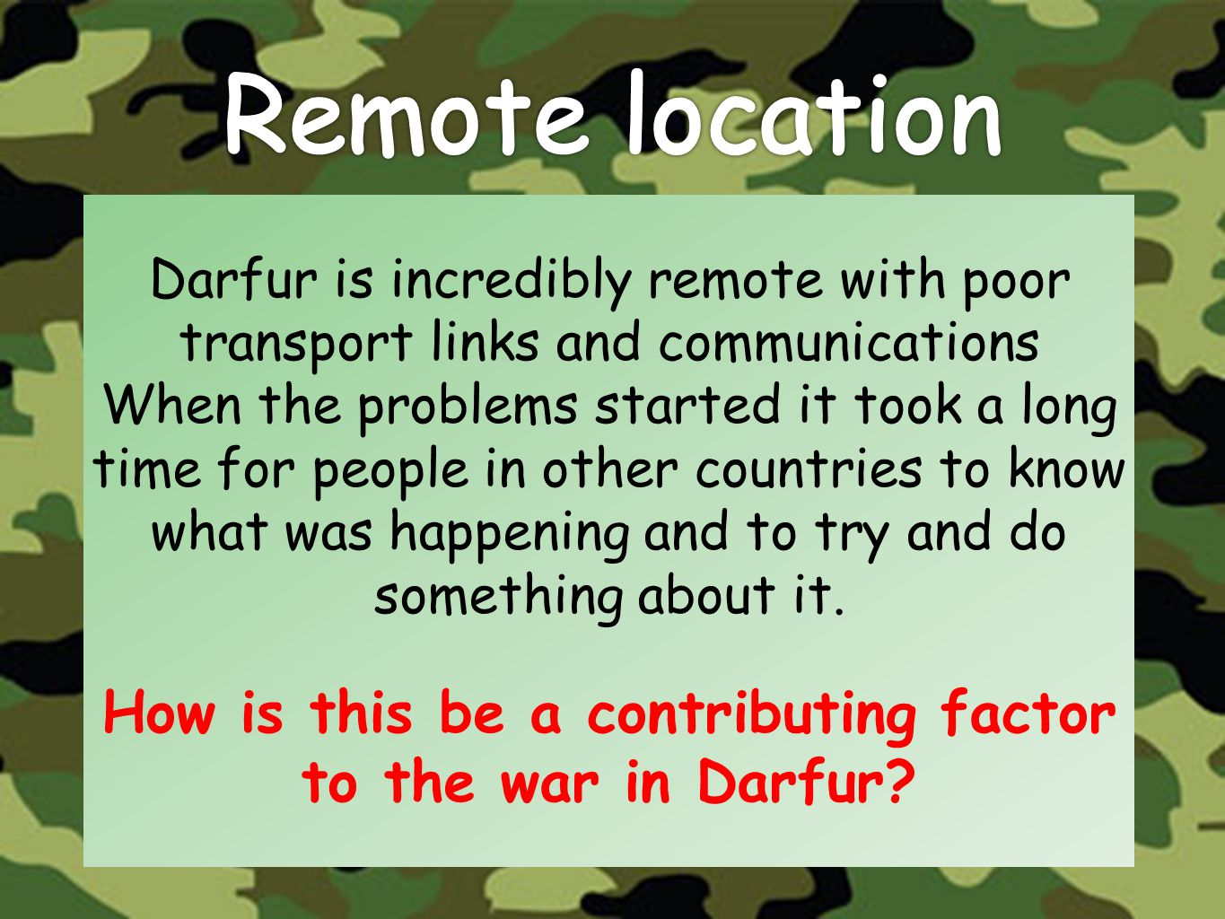 How is this be a contributing factor to the war in Darfur