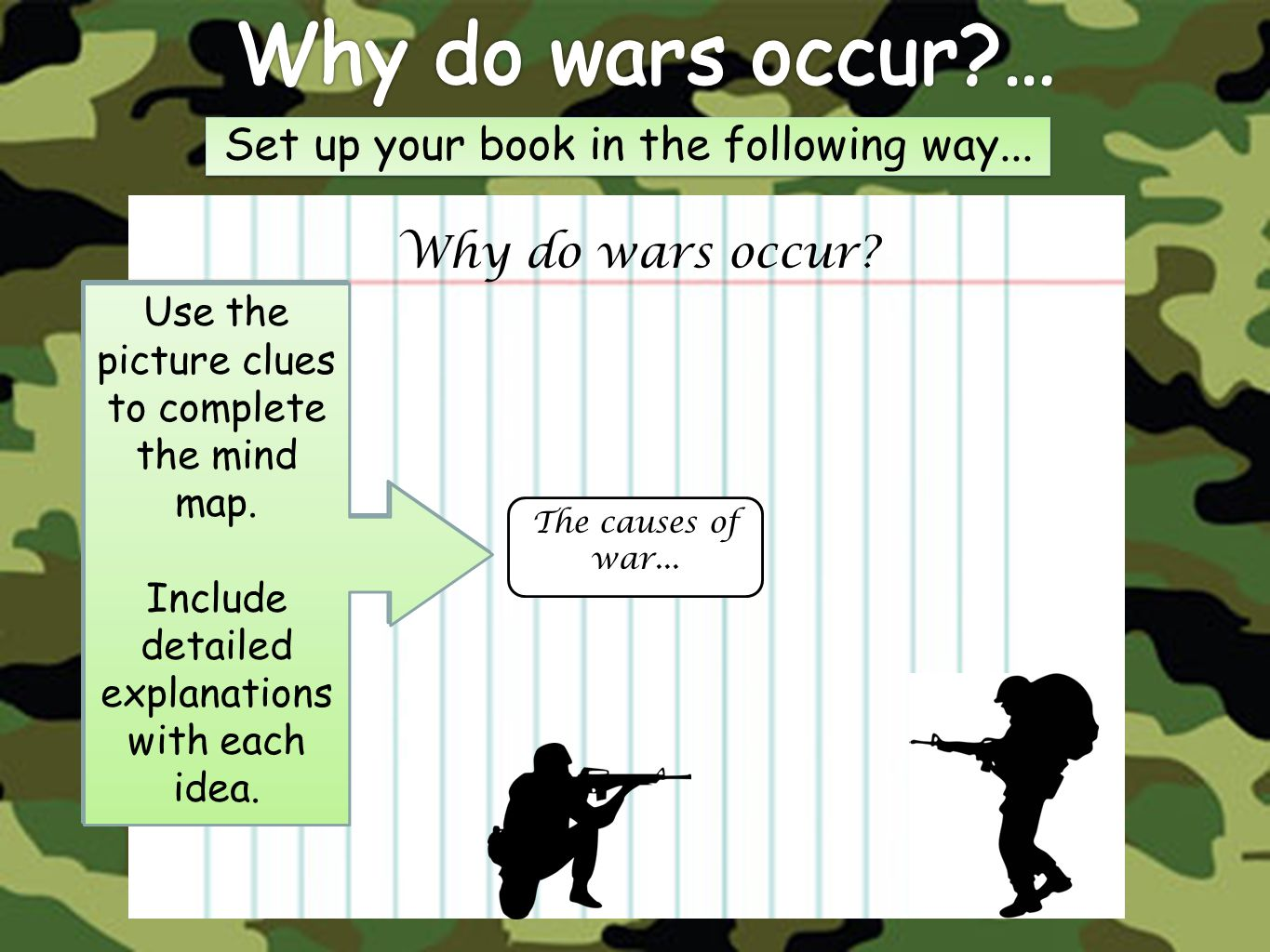 Why do wars occur … Set up your book in the following way...