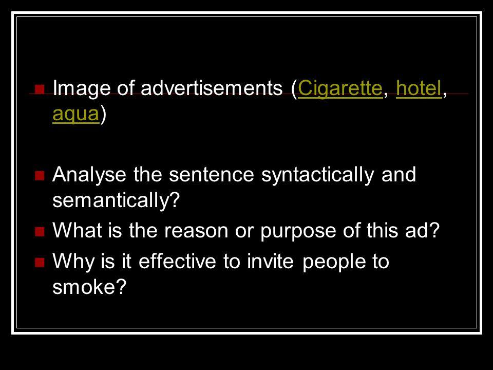 Image of advertisements (Cigarette, hotel, aqua)