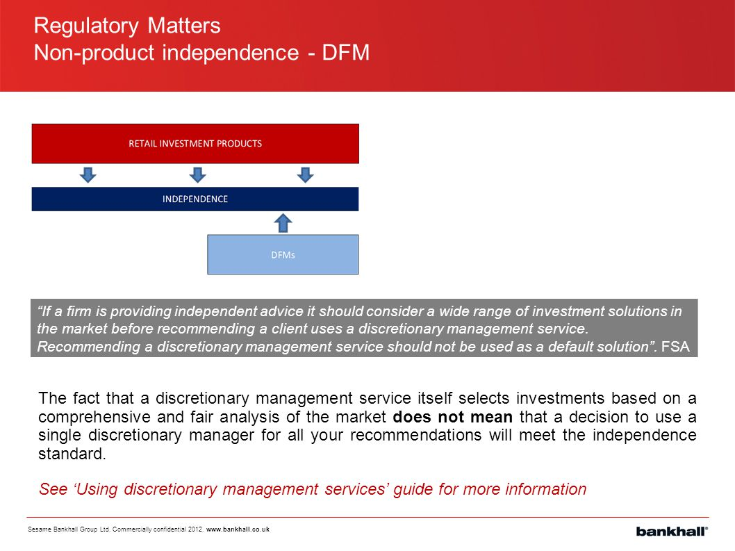 Non-product independence - DFM