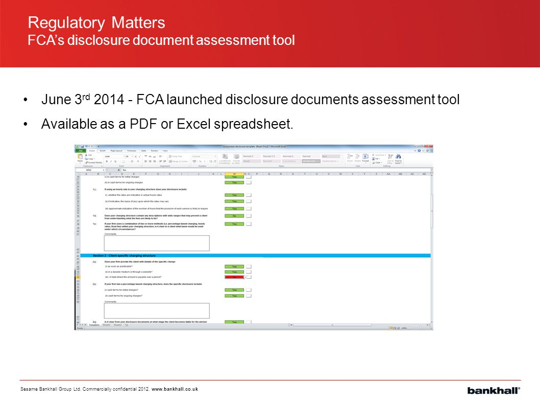 Regulatory Matters FCA's disclosure document assessment tool