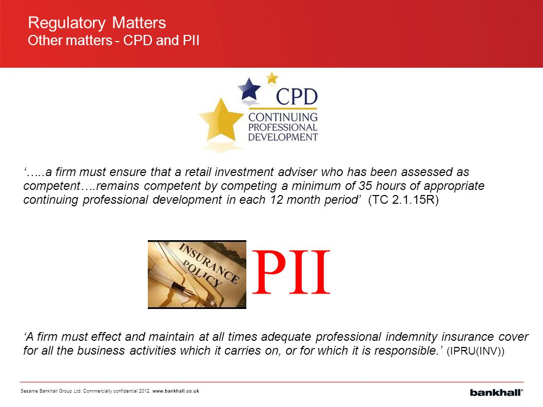 PII Regulatory Matters Other matters - CPD and PII