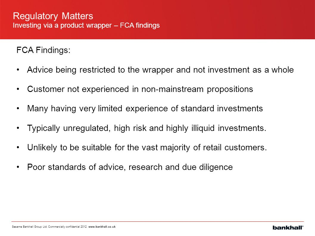 Regulatory Matters FCA Findings: