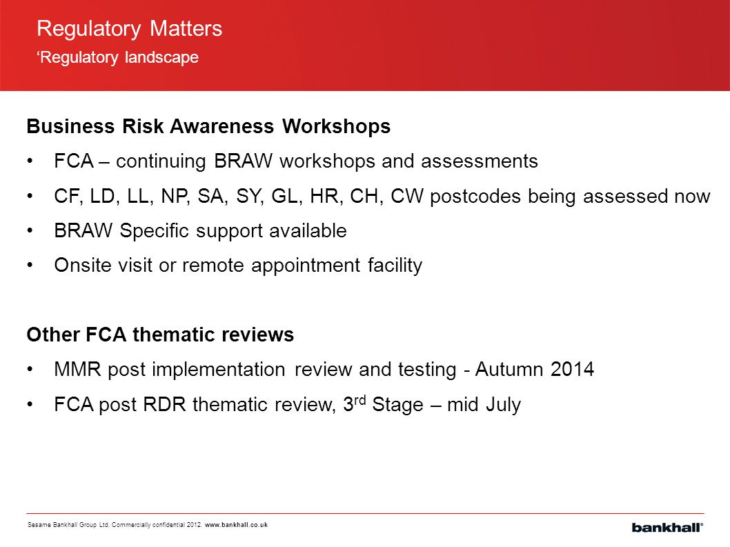 Regulatory Matters Business Risk Awareness Workshops