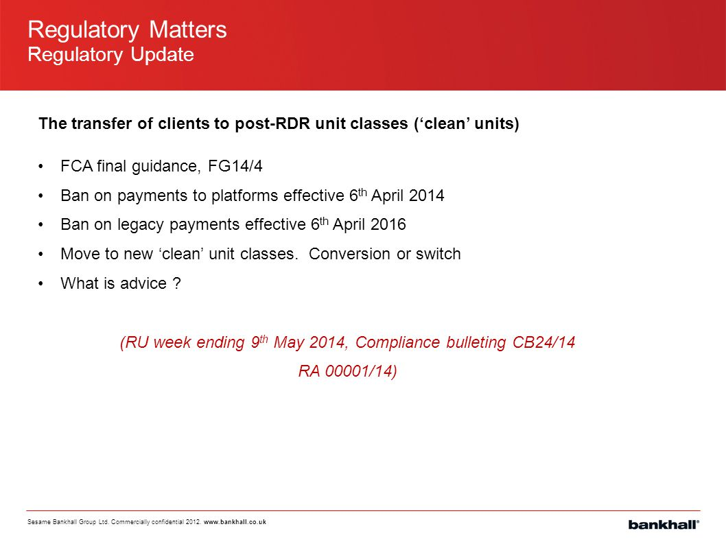 (RU week ending 9th May 2014, Compliance bulleting CB24/14