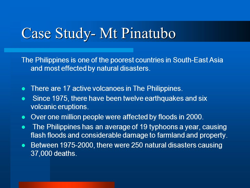 case study of mount pinatubo Mount pinatubo case study scott mount pinatubo's eruption was the second largest recorded geography case study: mount st helens.