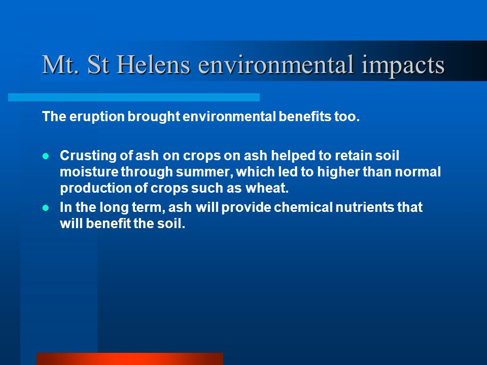 Mt. St Helens environmental impacts