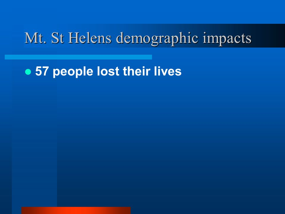 Mt. St Helens demographic impacts