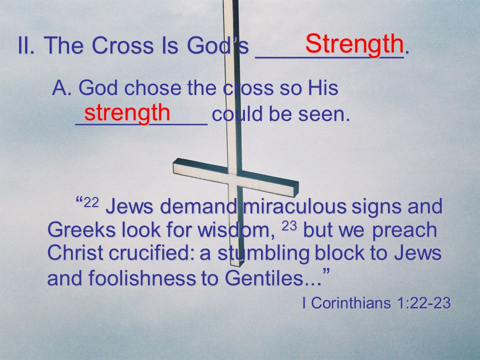 II. The Cross Is God's ___________.