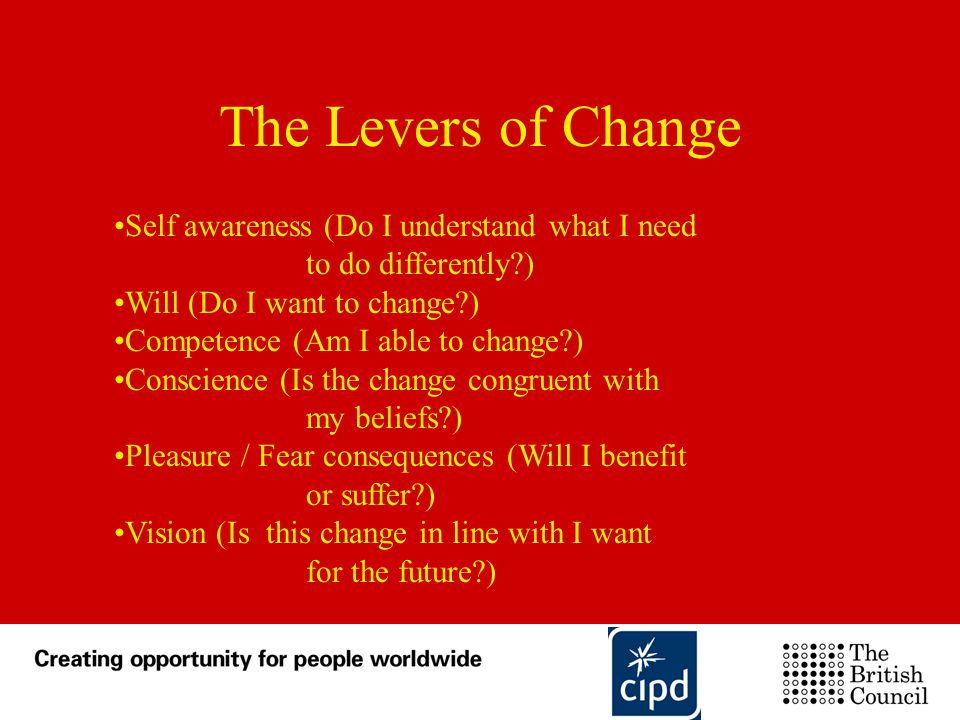 The Levers of Change Self awareness (Do I understand what I need