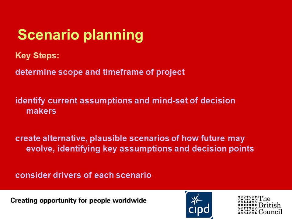 Scenario planning Key Steps: determine scope and timeframe of project