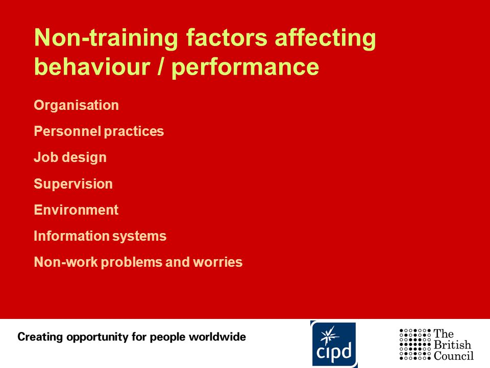 Non-training factors affecting behaviour / performance