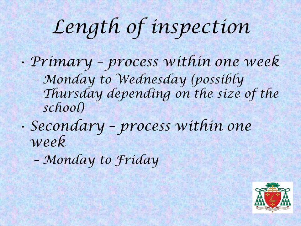 Length of inspection Primary – process within one week