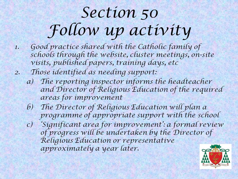Section 50 Follow up activity