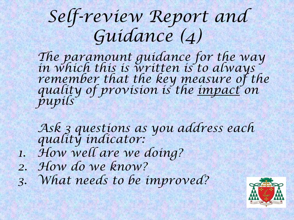 Self-review Report and Guidance (4)