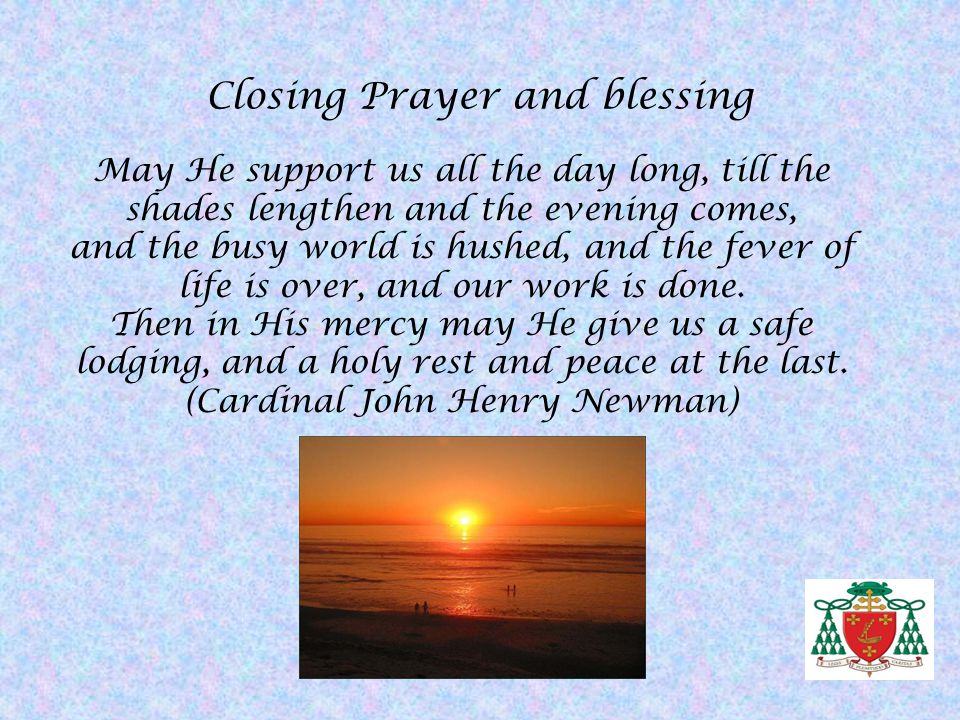 Closing Prayer and blessing