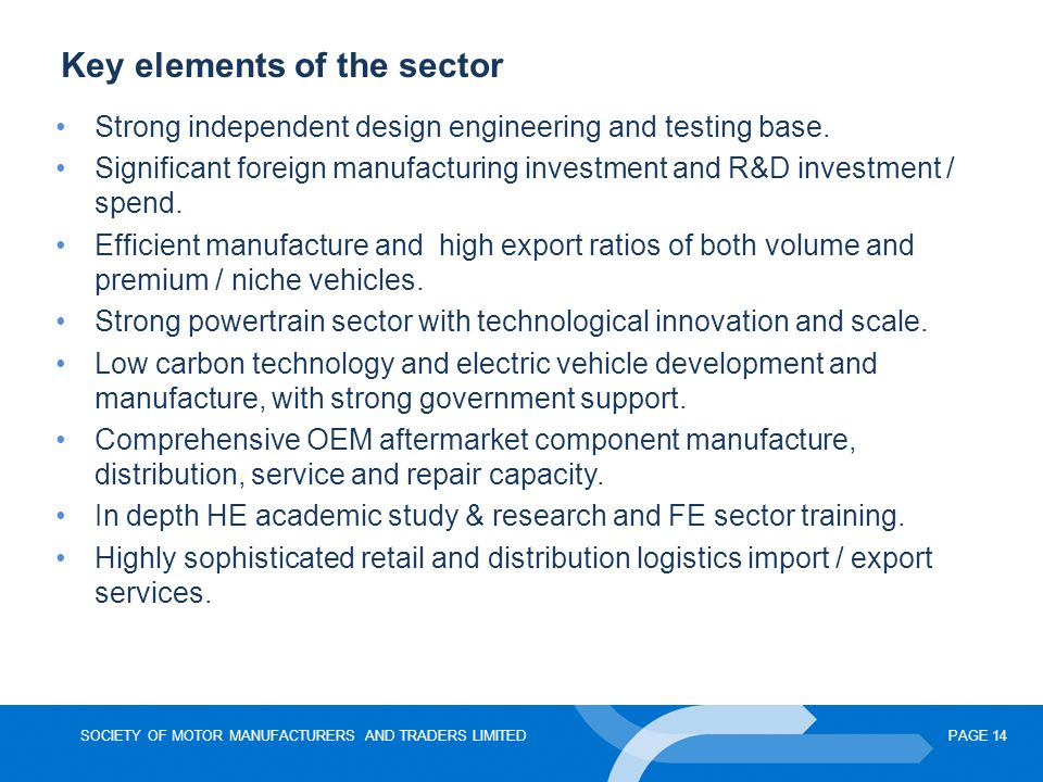 Key elements of the sector