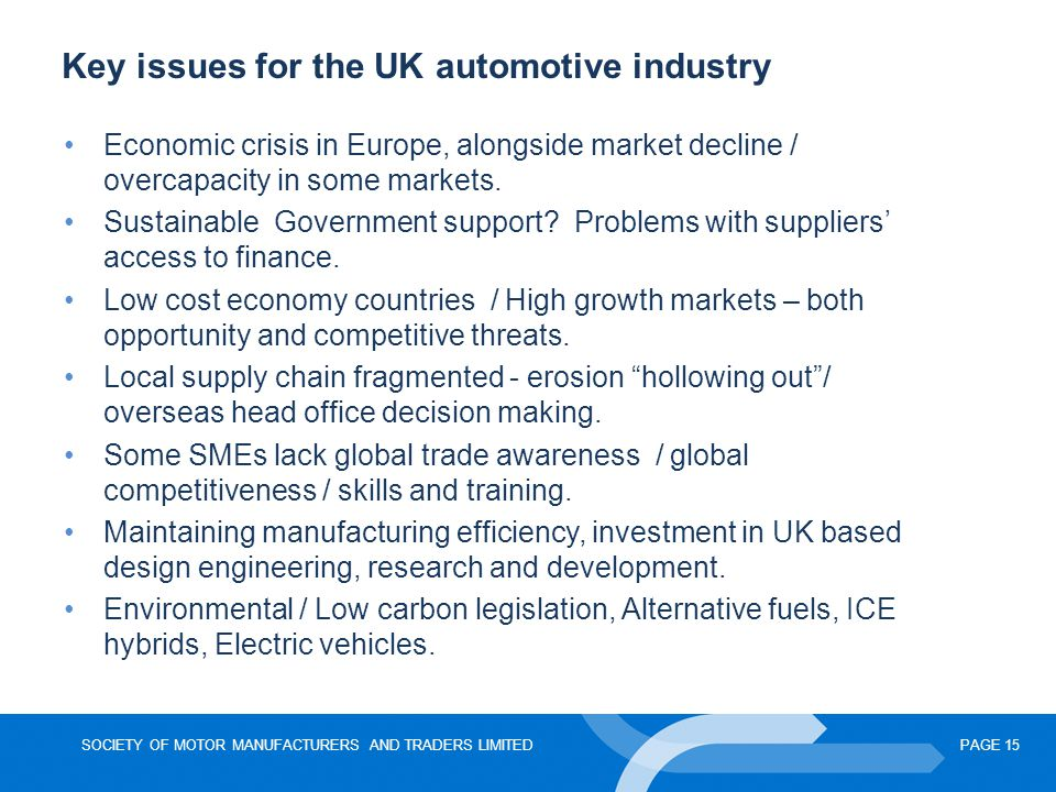 Key issues for the UK automotive industry