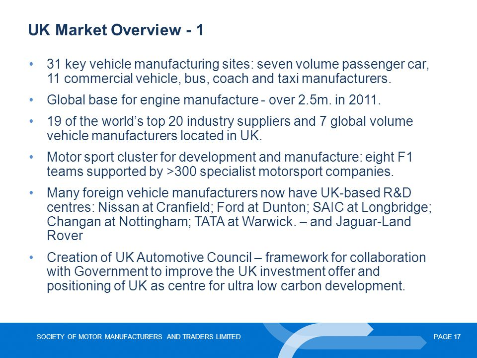 UK Market Overview - 1 31 key vehicle manufacturing sites: seven volume passenger car, 11 commercial vehicle, bus, coach and taxi manufacturers.