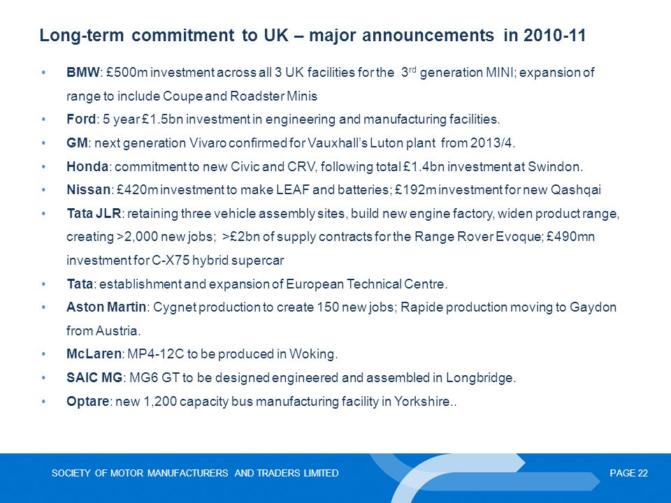 Long-term commitment to UK – major announcements in 2010-11
