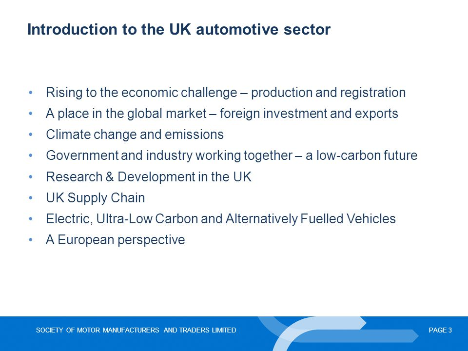 Introduction to the UK automotive sector