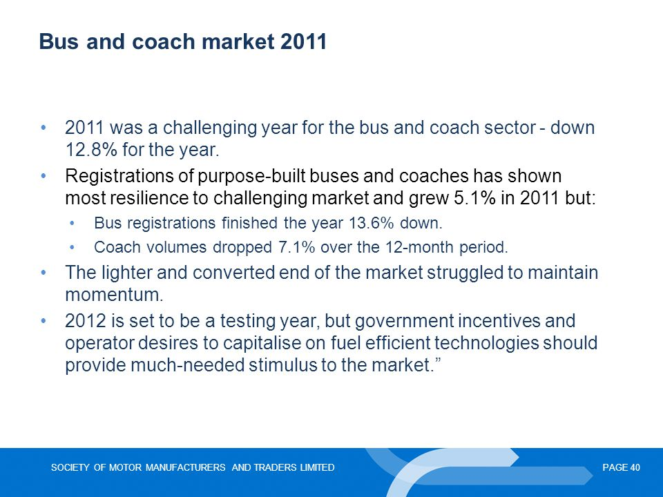 Bus and coach market 2011 2011 was a challenging year for the bus and coach sector - down 12.8% for the year.