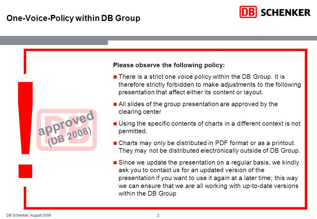 One-Voice-Policy within DB Group
