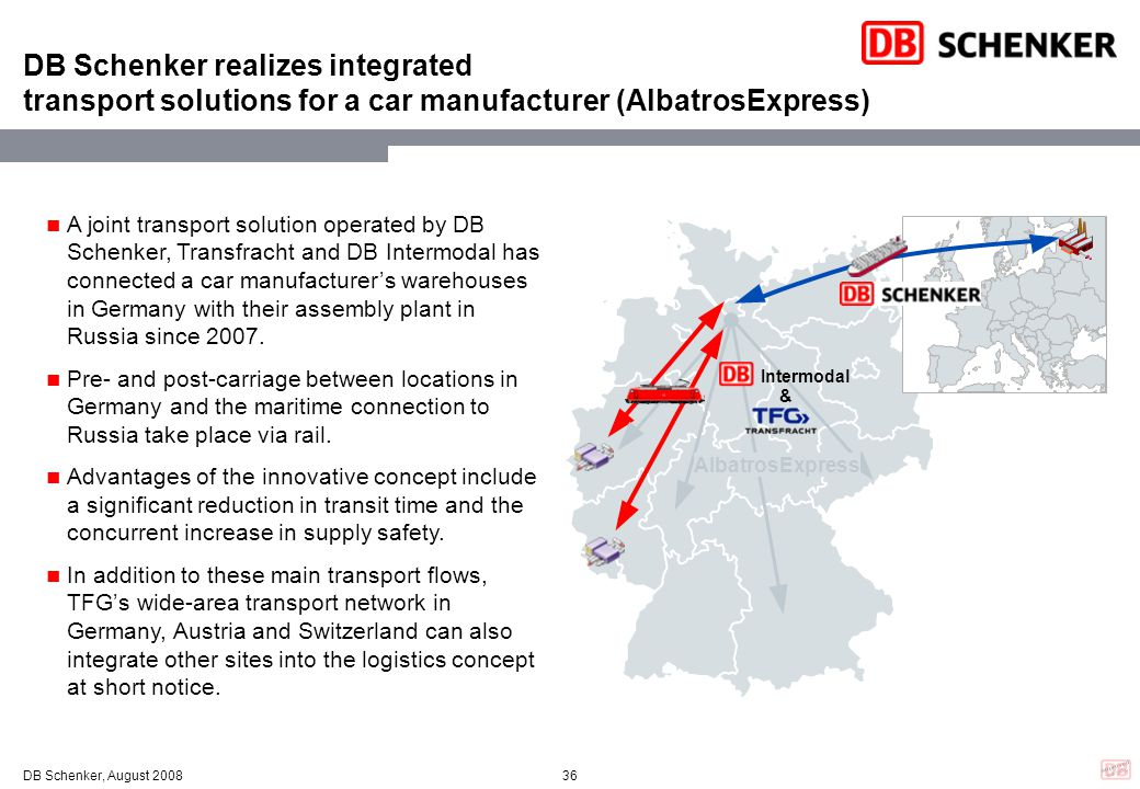 DB Schenker realizes integrated transport solutions for a car manufacturer (AlbatrosExpress)