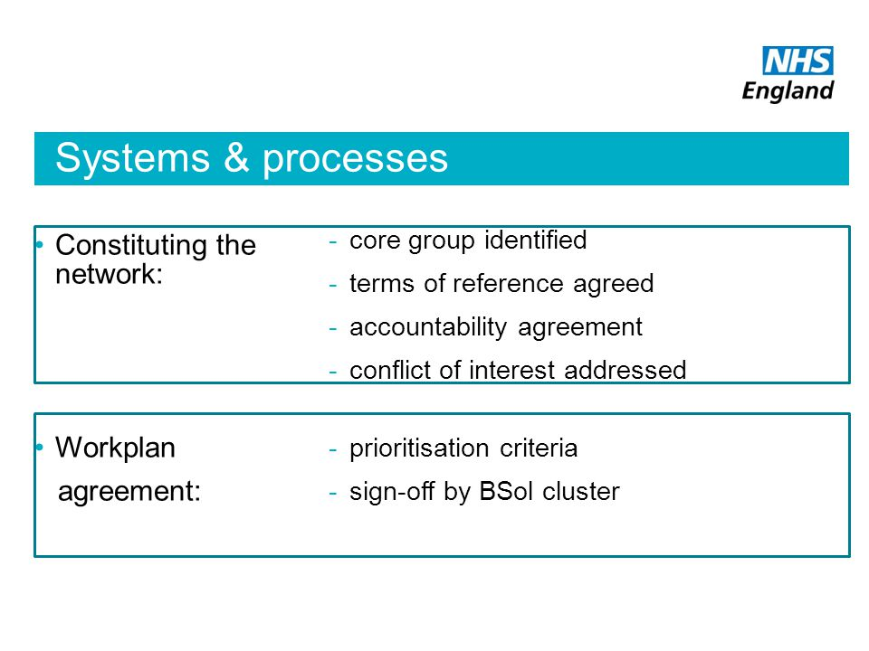 Systems & processes Constituting the network: Workplan agreement: