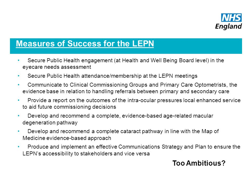 Measures of Success for the LEPN
