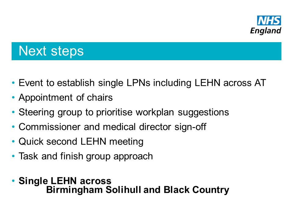 Next steps Event to establish single LPNs including LEHN across AT