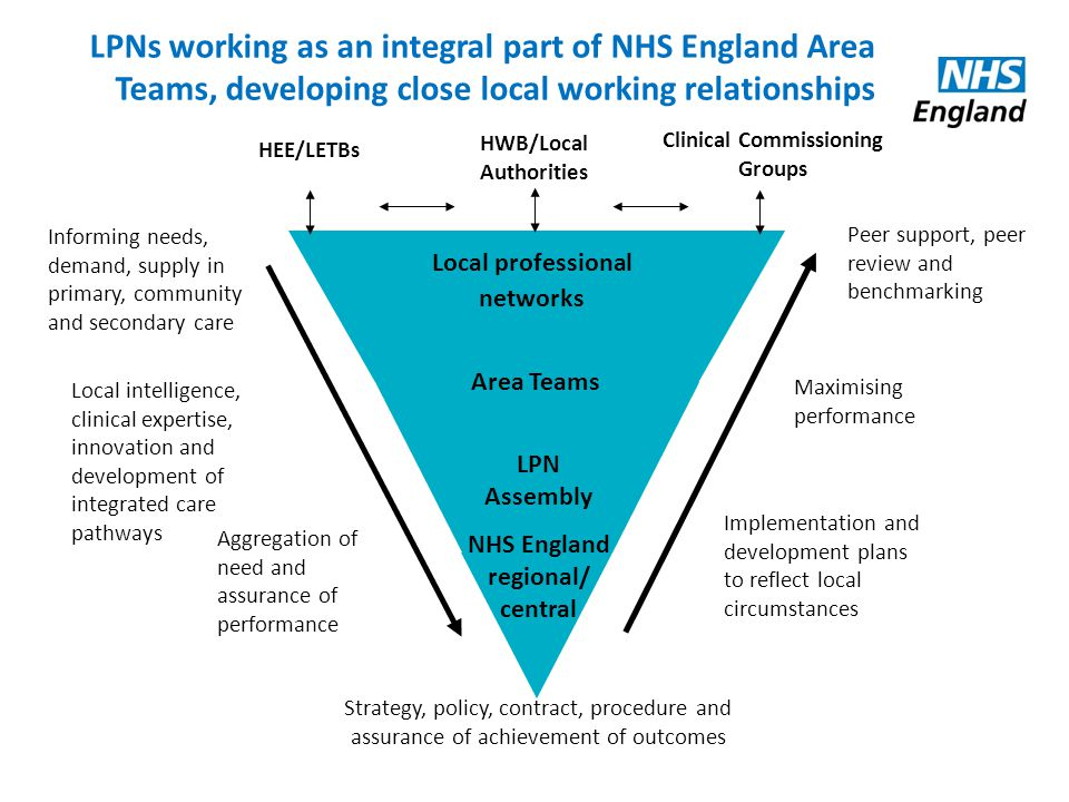 LPNs working as an integral part of NHS England Area Teams, developing close local working relationships