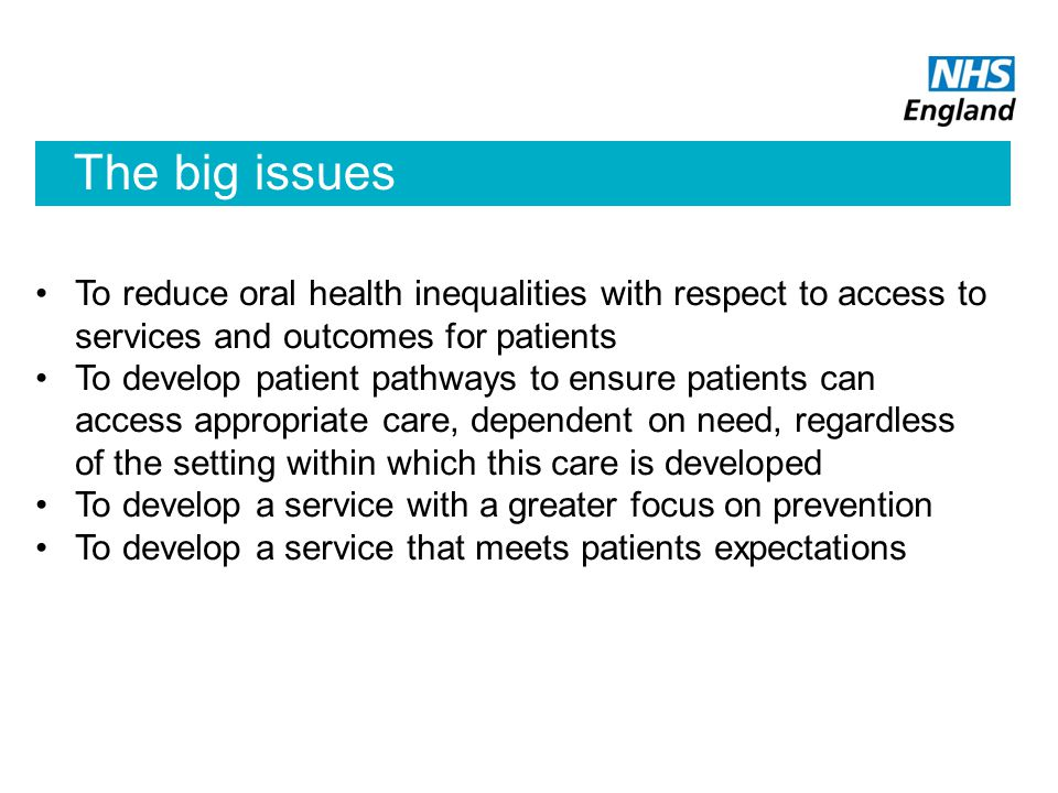 The big issues To reduce oral health inequalities with respect to access to services and outcomes for patients.