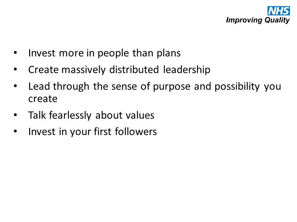 Invest more in people than plans