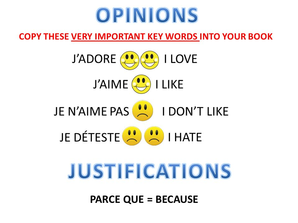 OPINIONS JUSTIFICATIONS