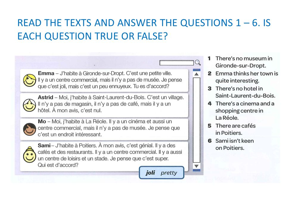 READ THE TEXTS AND ANSWER THE QUESTIONS 1 – 6