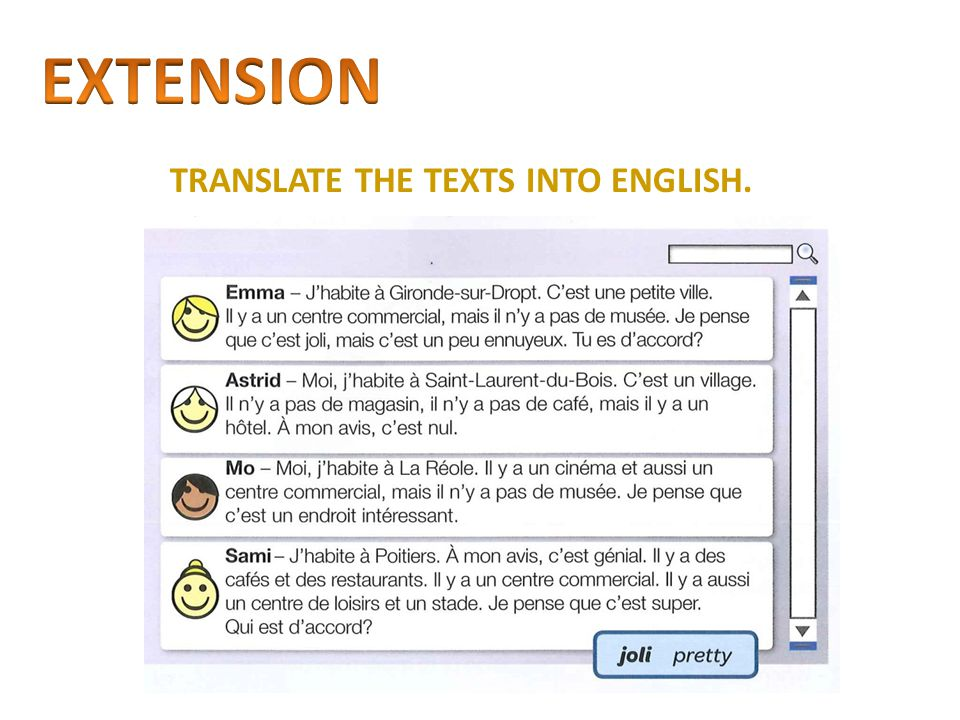 EXTENSION TRANSLATE THE TEXTS INTO ENGLISH.